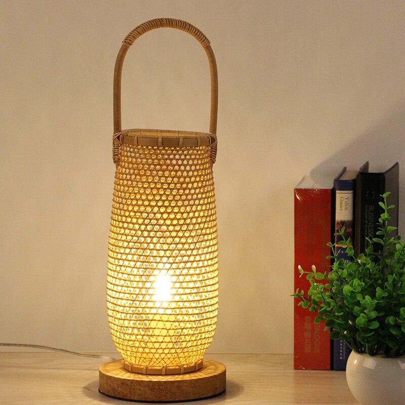 Asie du sud-est Zen salon de thé lampe de table créative bambou chambre table de chevet lampe hôtel club lampe à main AP8211424