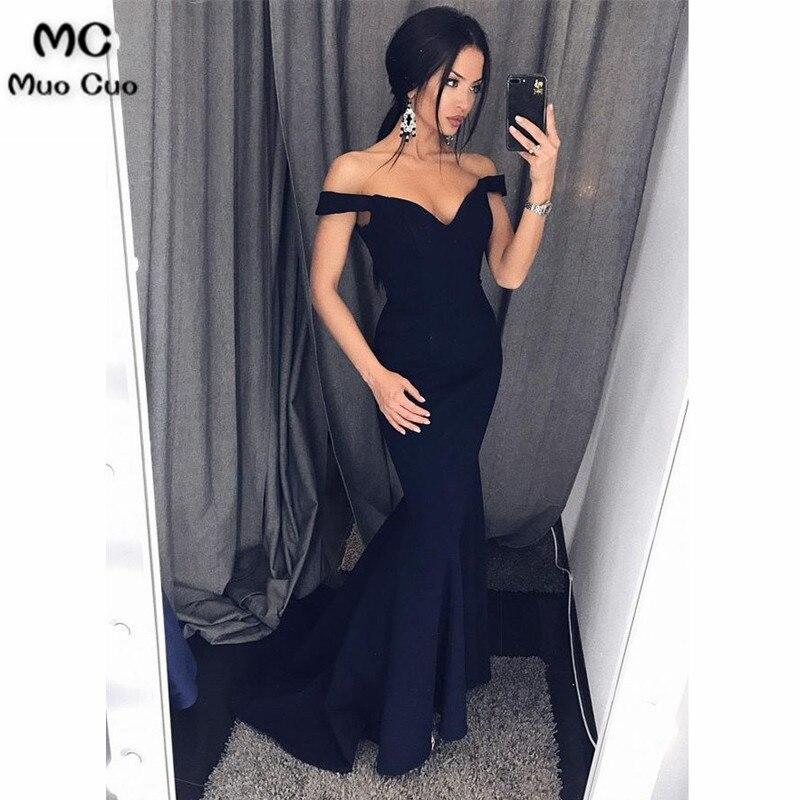 2018 Dark Blue Mermaid   Evening     Dresses   Long Prom   Dresses   Long Deep V-Neck Elastic Satin   Evening     Dress   for women