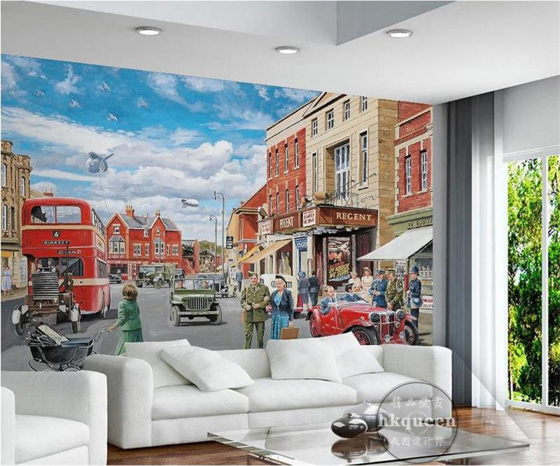 3d room wallpaper custom mural photo City street shops car sky painting picture 3d wall non-woven murals wallpaper for walls 3d 3d ceiling murals wallpaper custom photo non woven sky dandelion dove leaves painting 3d wall mural wallpaper for living room