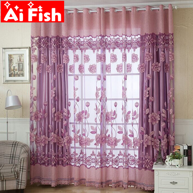 Luxury Fashion Style Semi Blackout Curtains Kitchen Window Purple Coffee Color Tulle For