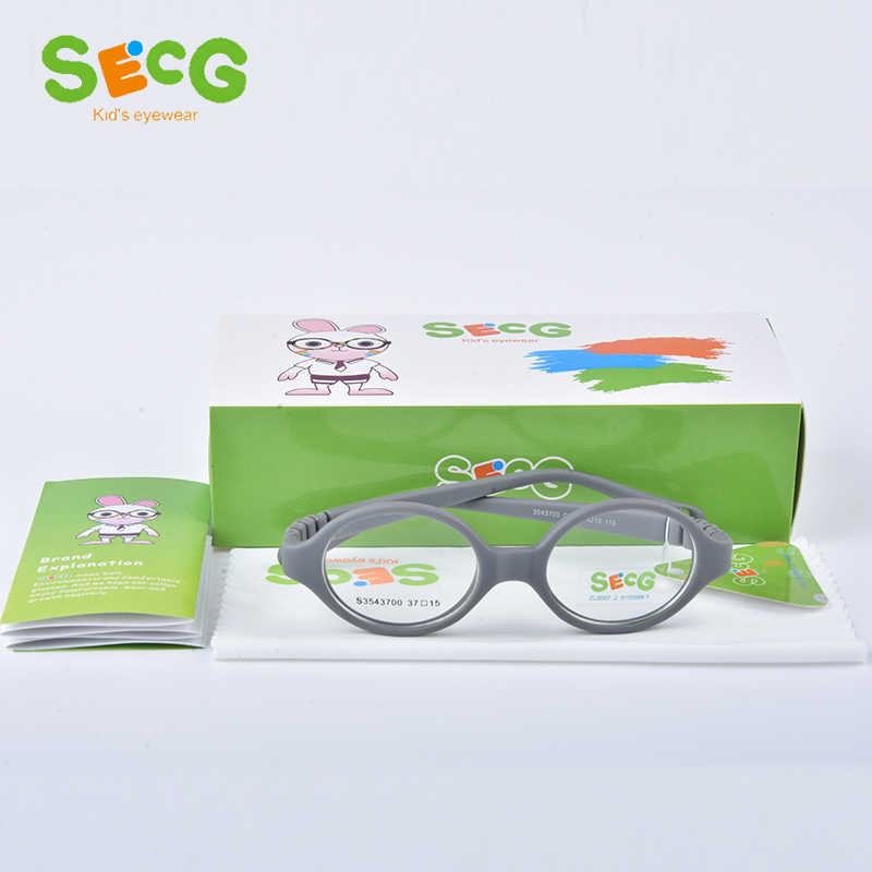 SECG Myopia Optical Round Children Glasses Frame Solid TR90 Rubber Diopter Transparent Kids Glasses Flexible Soft Eyewear