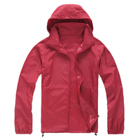 슈퍼 판매 야외 남녀 사이클링 실행 방수 방풍 재킷 레인 코트-레드, XS