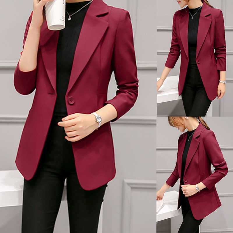 ¡Novedad de 2018! Blazer femenina de una sola botonadura, americana de moda, mujeres Blazers y chaquetas negra, rojo vino de otoño