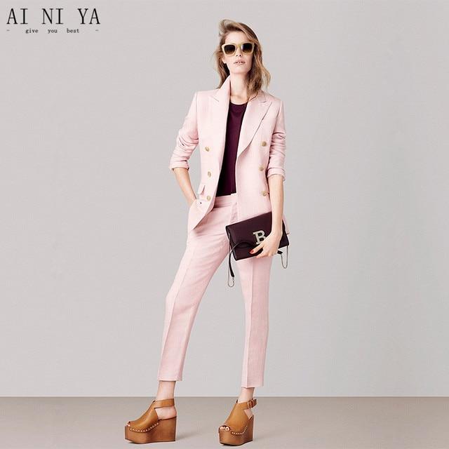 Chaqueta + Pantalones rosa mujer negocios trajes mujer