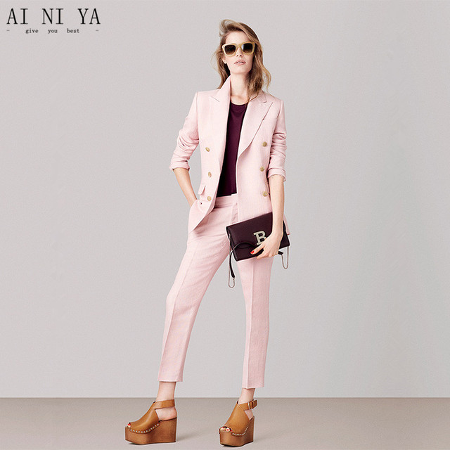 b090b7e298 Chaqueta + Pantalones rosa para mujer trajes de negocios uniforme de  oficina para mujer 2 unidades