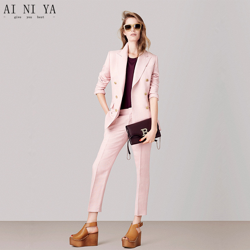 Jacket+Pants Pink Womens Business Suits Female Office Uniform 2 Piece Ladies Winter Formal Trouser Suit Double Breasted Cusotm