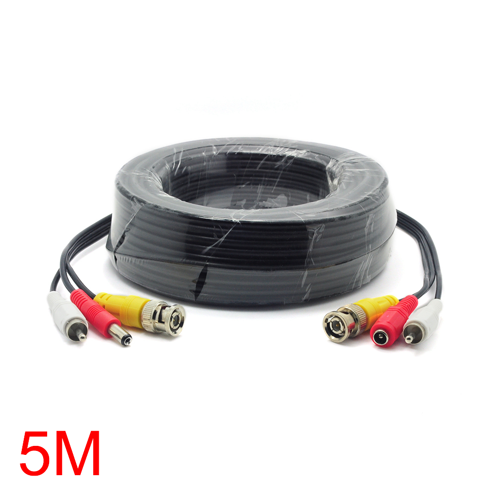 5M/16FT BNC RCA DC Connector Video Audio Power Wire Cable For CCTV Camera gzgmet spring ring for audio video cctv camera bnc female jack coupler wire connector