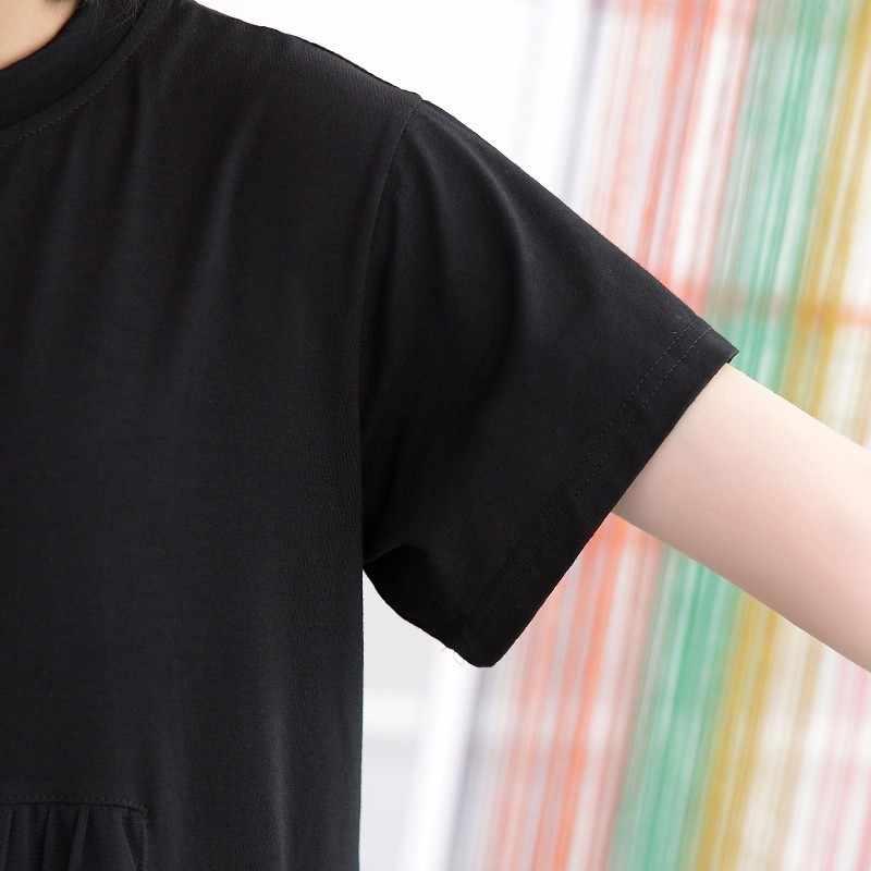 GALCAUR メッシュ女性のドレス半袖パッチワークビッグサイズ非対称ロング休日のドレス夏のファッションカジュアル衣料