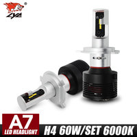 LYC 2pcs H4 60W Car LED Headlight Bulb All In One 8400LM 6000K H1 H4 H7