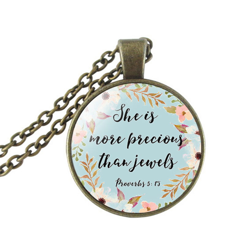 US $6 73 25% OFF|Proverbs 3:15, She Is More Precious Than Jewels, Bible  Verse Necklace, Bible Nursery Art, Scripture Jewelry, Christian Art  Neckl-in