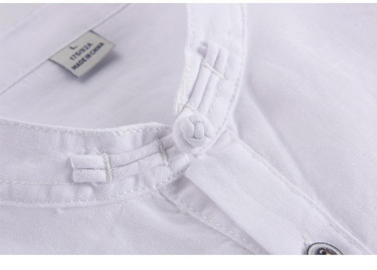 Lane moške majice z dolgimi rokavi, lanene majice s kratkimi rokavi, - Moška oblačila - Fotografija 3