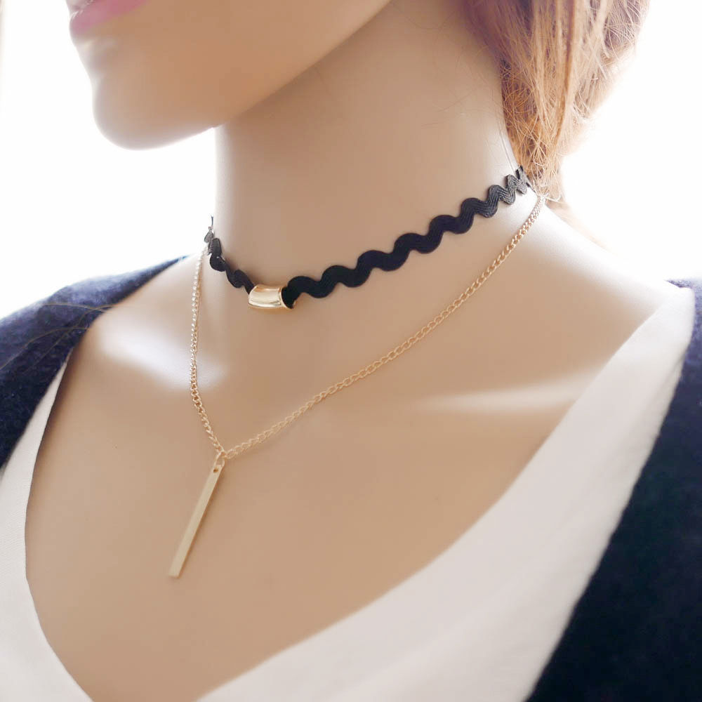 19 New hollow Designs Velvet Chokers Necklace Black Leather Rope Chain layer Chocker Vintage Jewelry for women Collier femme 17
