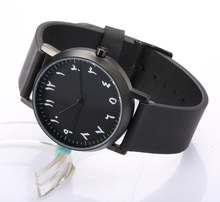 Hommes de montres design minimaliste visage Arabe montre 100% véritable bracelet en cuir