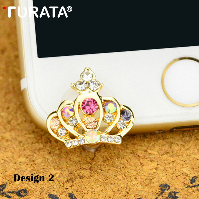 Lovely Crown Mobile phone Anti-dust plug 3.5mm Audio Earphone Jack Decoration Protection Set Accessories Phone Gadgets Universal