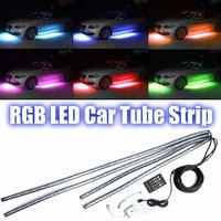 JX LCLYL 4pcs RGB LED Strip Under Car Tube Underglow Underbody Neon Light System Kit