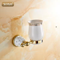 XOXO Nueva Modern accesorios de lujo de estilo Europeo Oro cobre vaso para cepillos de dientes y taza de titular de montaje en pared de baño 10084GT