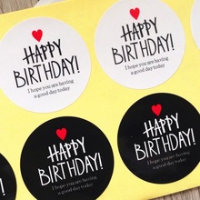 80pcs  Black & White HAPPY BIRTHDAY series Adhesive Kraft Seal Sticker for Baking Gift Label Stickers Funny DIY Work