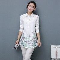 Women Korean Loose Embroidered Shirts Tops 2017 New Female Spring Autumn Fashion Medium Long Long Sleeve