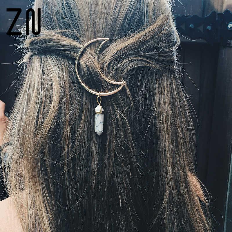 Alloy Moon Shape Hair Pin Hexagonal Column Stone Pendant Hair Clip Women