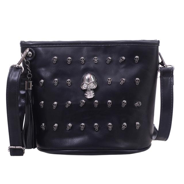 Skull Design Women Messenger Bags Handbags Shoulder Bags Satchel Clutch Girl Black Skull Crossbody Bag Bolsas Borse Feminina