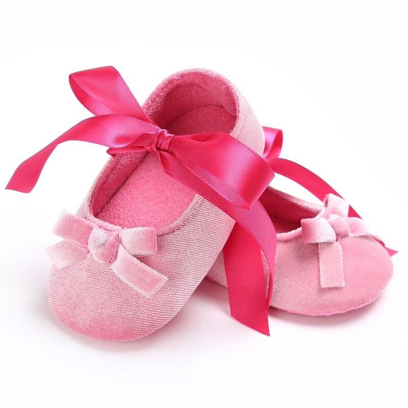 2018 Newborn Baby Girls Princess Shoes Kids First Walkers Mary Jane Bow Dress Ballet Soft Soled Crib Bebe Footwear ZM9
