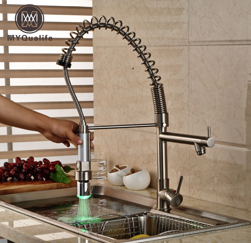 Nickel Brushed LED Kitchen Faucet Single Handle Hot Cold Water Coil Spring Deck Mount Mixer Tap