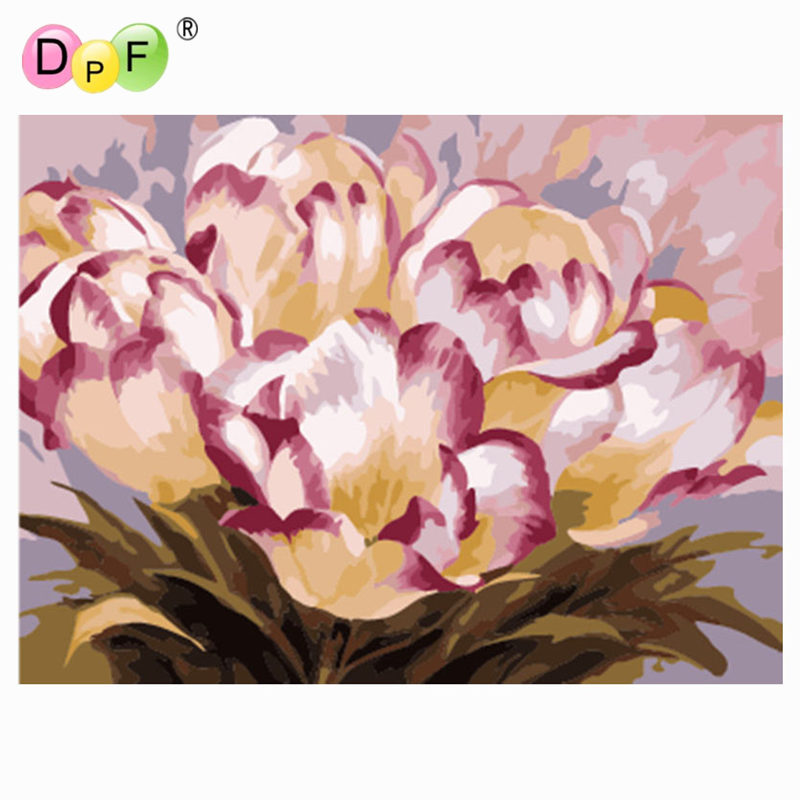 DPF DIY oil Painting Hand-painted flowers Paint On Canvas Acrylic ...