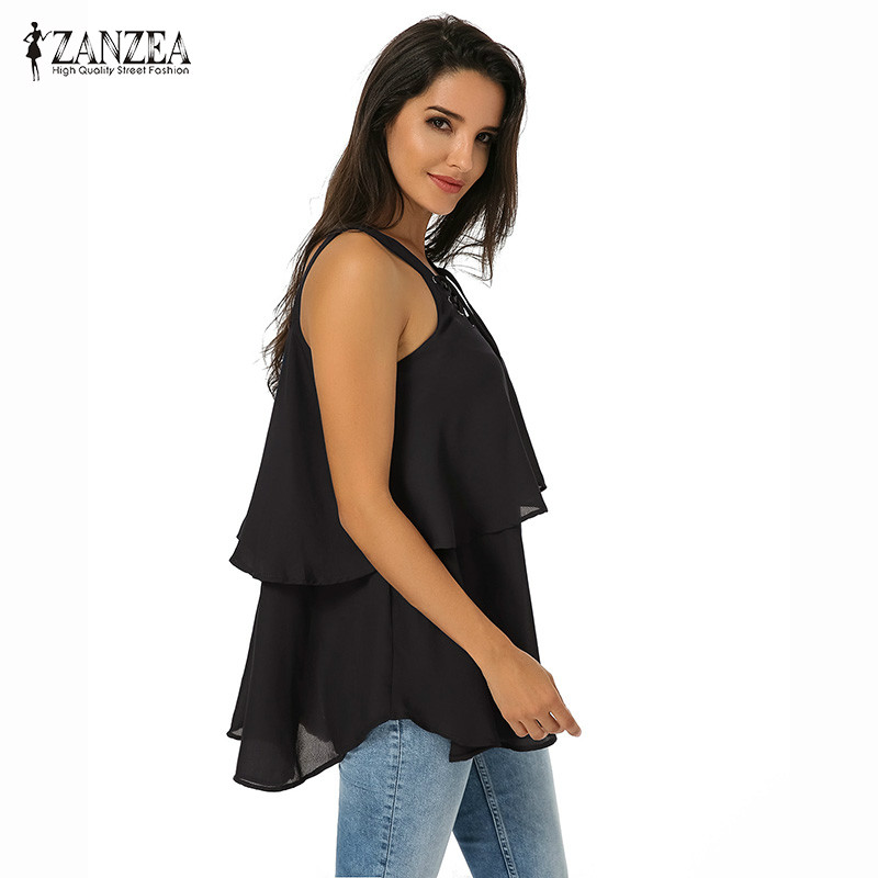 83bb1d24c448 ZANZEA Spring Summer Women Lace Up Layered Sleeveless Flowy Tops Female  Loose Flounce Tiered Spaghetti Strap Tiered Blouse Shirt-in Blouses   Shirts  from ...