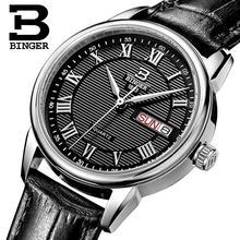 Suisse Binger montres femmes mode montre de luxe ultra-mince quartz Auto Date bracelet en cuir Montres B3037G-4