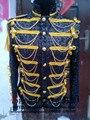 Moda 2015 venta caliente negro / plata / rojo remaches borla de lentejuelas de la cadena macho royal traje escenario de funcionamiento jazz chaqueta prendas de vestir exteriores