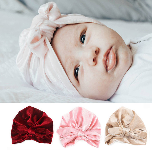 New Style Baby Hat Velvet Bow Newborn Baby Cap Turban bonnet enfant  Photography Accessorie Baby Girl f0057e6bc64