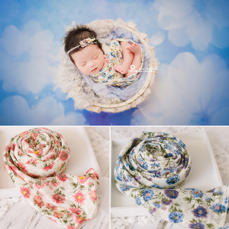 Newborn Photography Props Baby Wrapped Cloth Blanket Elastic Forest Flower Wrap Studio Party Photo