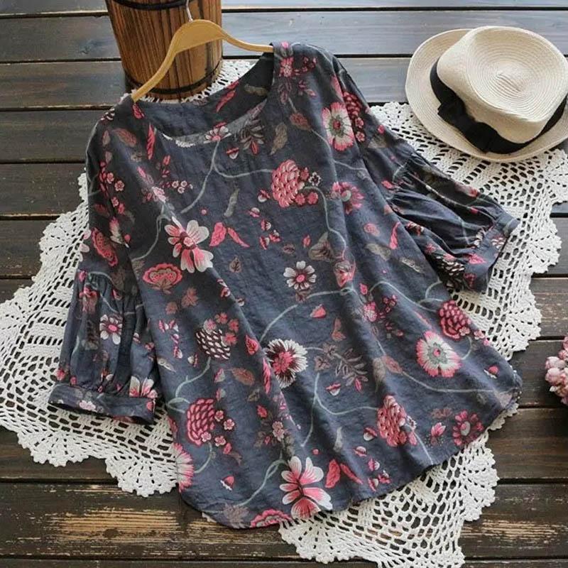 7898f4f5ef3 Verano Mujer Tamaño Elegante Floral Blusa De Gris Mujeres 3 2018 Manga  Blusasplus Camisa Zanzea Estampado Retro Tops Linterna 4 verde Las f6qx5nw