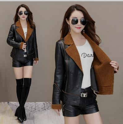 Womens Lapel Plus Velvet   Leather   Jackets Winter Autumn Warm Short Section   Leather   Coats Large Size Faux Lampskin Fur Coat J2645