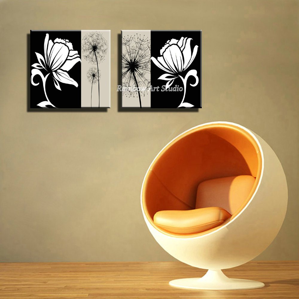 2 piece decorated white black Cheap flower cuadros decorativos HD ...