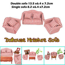 Hot Sale 1:12 Dollhouse Miniature Furniture Striped Double Sofa Wooden Single Sofa+4 Cotton Cushions For Doll Houses Accessories(China)