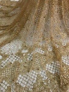 Image 2 - למעלה מכירת מודבק גליטר sparkle JIANXI.C 62519 בד אפריקאי הודו mesh טול עם חרוזים לשמלת כלה/ערב