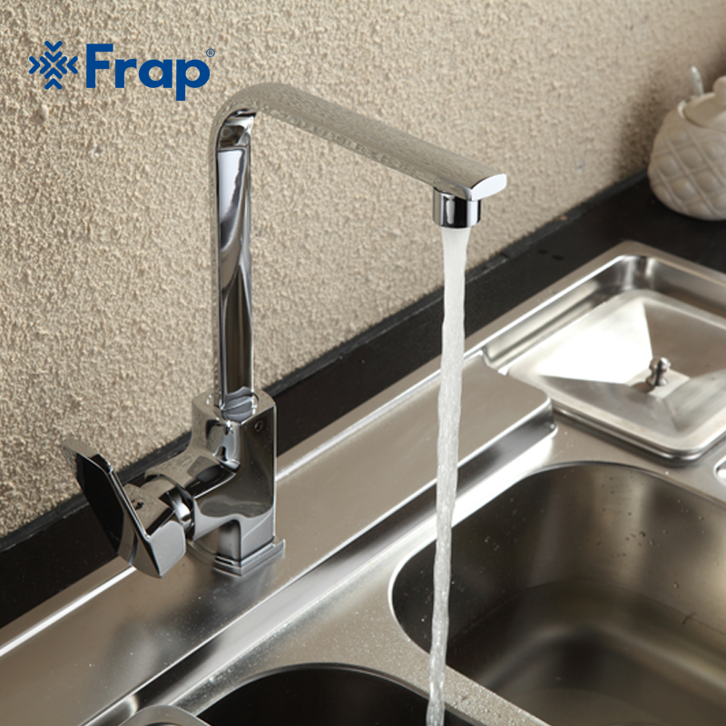 Frap Modern Style Brass Solid Kitchen Faucet Cold and Hot Water Mixer Right angle Design 360