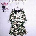 2014 nova primavera/outono camuflagem conjunto t shirt + vestido 2 pcs conjunto de roupas babi meninas roupa dos miúdos define crianças roupas ternos