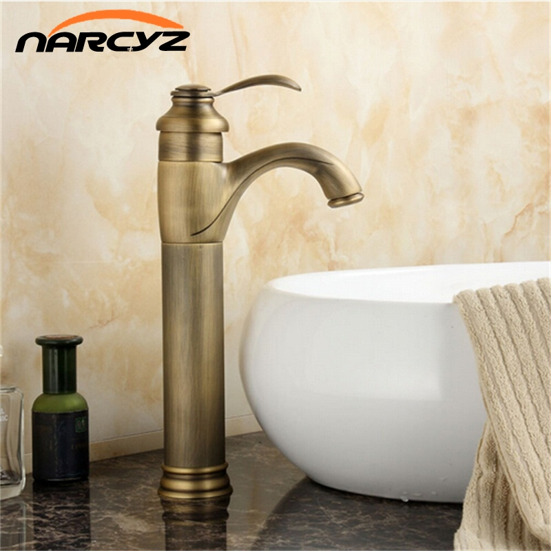 Basin Faucets Deck Mounted Antique Brass Washing faucet Single Handle Single Hole Basin Mixer Tap Hot And Cold Water Taps 7202-in Basin Faucets from Home Improvement    1