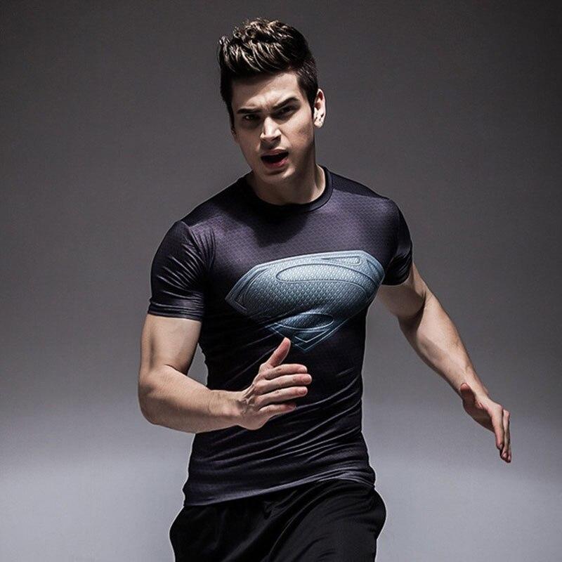 31fd6626b32d37 Batman Fitness Clothing Compression TShirt Men Short Sleeve 3D Superman T  shirt Superhero Captain America Marvel Comics T shirt-in T-Shirts from  Men's ...
