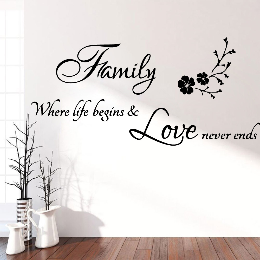 Love Quotes Motto Phrase DIY Black wall decal living room modern removable 1304