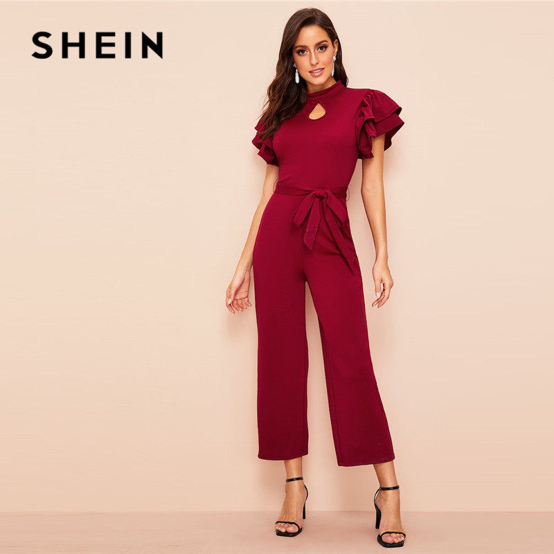 SHEIN Burgundy Elegant Cut Out Front Layered Sleeve Belted Women   Jumpsuit   Summer Stand Collar Mid Waist Ladies Wide Leg   Jumpsuit