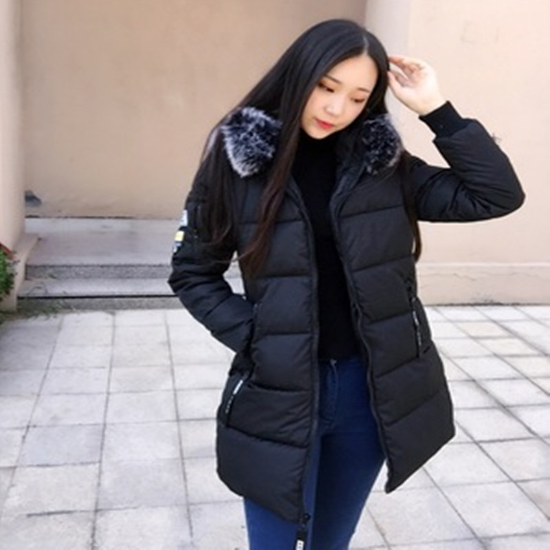Winter jacket Women 2017 Mid-long Thicken Warm cotton-padded Down Parkas Coat Faux Fur Collar Hooded Jacket for girl winter coat uwback 2016 new brand winter jacket women plus size 4xl faux fur collar down coat women black thicken padded parkas mujer tb1181