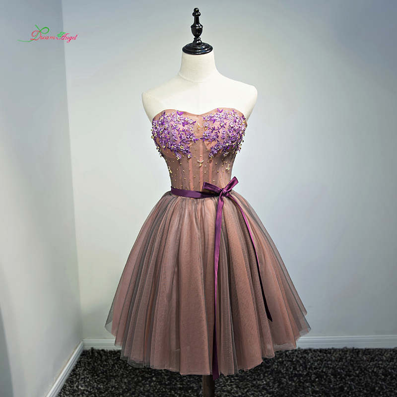 Dream Angel Flowers Strapless Knee Length   Cocktail     Dresses   2018 Beading Embroidery Special Occasion   Dress   Short   Dress   For Party