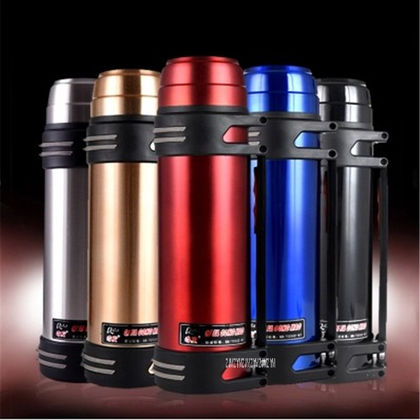 2500ML Outdoor Sport Camping 5 Color Large Capacity Insulated Kettle Sports Wate Bottles 304 Stainless Steel red/blue/black/gold