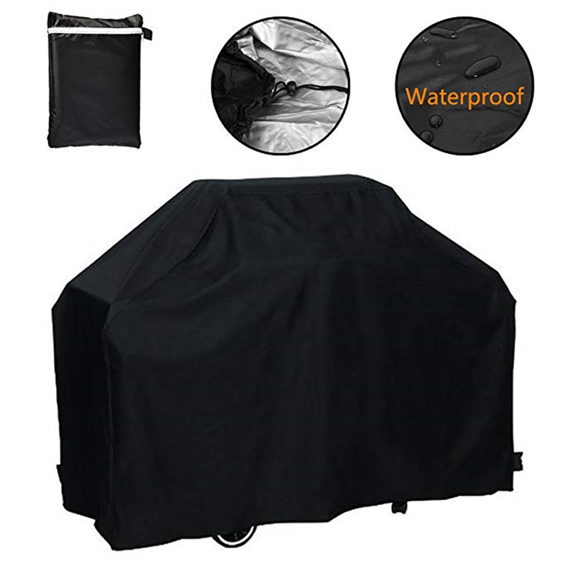 Black Waterproof BBQ Cover Heavy Duty BBQ Accessories Grill Cover Rain Barbacoa Anti Dust Rain Gas Charcoal Electric Barbeque05_