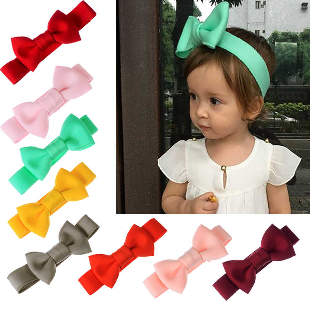 24pcs lot Wholesale Girl s Adjustable Knot Bows Headband Newborn Cotton Headbands Kids Hair Bow Elastic