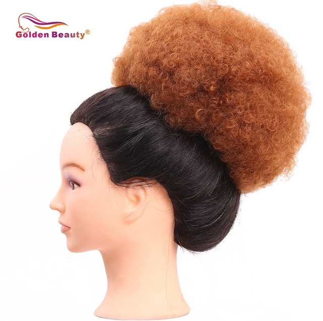 8inch Afro Puff Curly Synthetic Hair Chignon With Two Plastic Combs