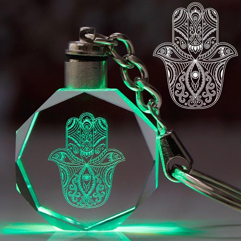 Hamsa Hand Charms Key Chain Evil Eye Key Ring Colorful LED Light Keychain Pendant Lucky Symbol Gift For Woman Man Trinket